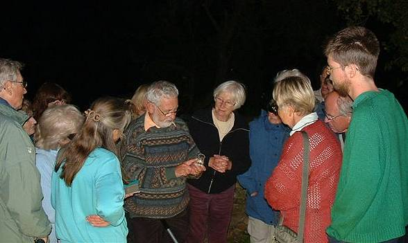 Gathered round the moth trap